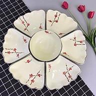 Bộ bát đĩa men kem gốm sứ Bát Tràng vẽ hoa đào đỏ tươi sáng thumbnail