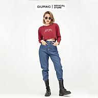 Áo thun croptop tay dài thêu chữ cá tính GUMAC ATB565 thumbnail