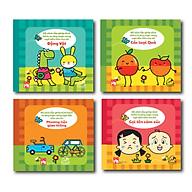 Bộ 04 cuốn Sách Vải SONG NGỮ Mix & Match Gọi tên cảm xúc + Phương tiện giao thông + Các loại hoa quả + Động vật thumbnail