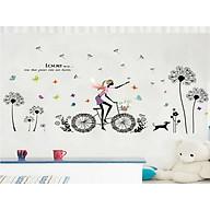 Decal dán tường cô gái đạp xe hoa bồ công anh đen xl8212 thumbnail