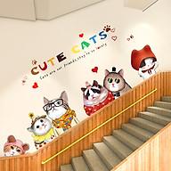 Decal dán tường trang trí Gia Đình Mèo Đáng Yêu thumbnail