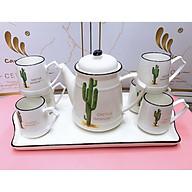 Bộ ấm chén pha trà kèm khay sứ trắng họa tiết xương rồng cao - ANTH155 thumbnail