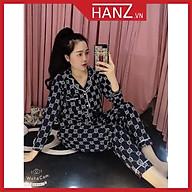 Bộ ngủ pijama lụa kate thái áo dài quần dài bộ mặc nhà mềm mại dễ thương H1 ĐEN G.C thumbnail