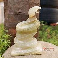 Tượng rắn tuổi Tỵ 12 con giáp phong thủy đá ngọc Pakistan 8cm đá Non Nước thumbnail