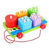 Xe kéo hình khối bằng gỗ - đồ chơi giáo dục thumbnail