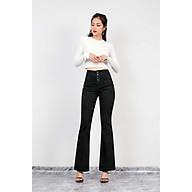 Quần jean nữ ống loe bass cài nút lưng cao có 2 màu trắng, đen thumbnail