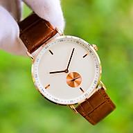 Đồng hồ nam dây da nâu mặt tròn Thiết kế sang trọng Lịch lãm Phù hợp với nhiều phong cách - OP00002N thumbnail