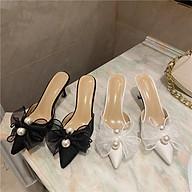 Giày sục nữ cao gót 7cm quai nơ đính họa tiết sang chảnh mã LC09 thumbnail