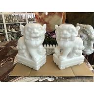 Cặp Kỳ Lân quay đầu phong thủy gác cổng đá cẩm thạch trắng - Cao 30 cm thumbnail