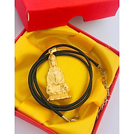 Set Mặt dây chuyền Phật Bà Quan Âm, cao 2cm, mạ vàng 24K kèm dây đeo da màu đen và hộp đựng Cung Hỷ, Món phụ kiện cho các buổi gặp mặt, đám tiệc, ... thêm phần sang trọng. thumbnail