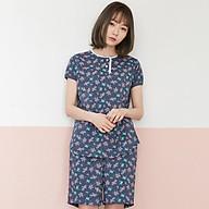 Bộ mặc nhà xanh navy hồng nhí cổ viền thumbnail