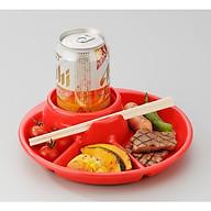 Combo Giá đựng hộp sữa có quai màu hồng + Khay ăn chia 3 ngăn có kèm khay để cốc, thìa dĩa (Màu đỏ) - Nội Địa Nhật Bản thumbnail