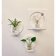 Bộ 3 chi tiết kệ trang trí dán tường hình vuông tròn chất liệu nhựa gỗ ( 2 tròn, 1 vuông) thumbnail