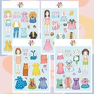 Búp bê giấy đồ chơi cắt thủ công cho bé Combo 4 hình siêu đáng yêu 001 thumbnail