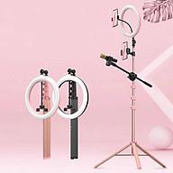 Đèn LED livestream 10 inch kèm chân Tripod cao 1,7m + kẹp camera kép + kẹp camera đơn + kẹp micrô + gửi điều khiển từ xa Bluetooth thumbnail