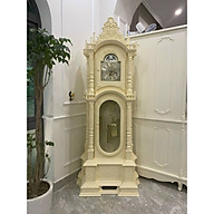 Đồng hồ cây gỗ gõ đỏ , mẫu tháp trụ sơn trắng kem thumbnail