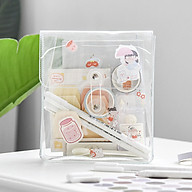 Portable Transparent File Document Bag Pouch Plastic Envelope Bill Invoice Storage Organizer with Button & String Tie thumbnail