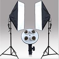 Bộ Đèn Studio, Đèn Chụp Ảnh Sản Phẩm Chân Đèn 2m Kèm Softbox 50x70 Hỗ Trợ Sáng, Đui 4 Bóng thumbnail