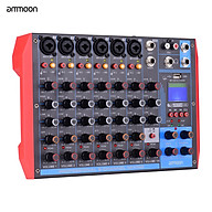 ammoon AG-8 Portable 8-Channel Mixing Console Digital Audio Mixer +48V Phantom Power Supports BT USB MP3 Connection for thumbnail