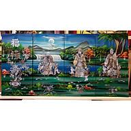 TRANH KHẢM TRAI SƠN MÀI - PHÚC LỘC THỌ ( BỘ TAM ĐA -nền màu xanh) thumbnail