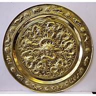 Tranh mâm đồng vàng nguyên chất Cửu Long Chầu Nguyệt A222 thumbnail