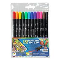 Bộ 12 Cây Bút Lông 2 Đầu Colormate MA-12TWOTIP