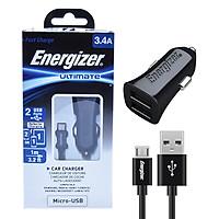 Bộ Sạc Xe Hơi Energizer Micro USB 2 Cổng 3.4A DCA2CUMC3 - Hàng Chính Hãng