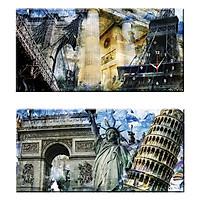 Tranh đồng hồ treo tường NHỮNG KÌ QUAN THẾ GIỚI - Q22-OM-026-DH (30 x 60 cm) Thế Giới Tranh Đẹp