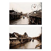 Tranh Đồng Hồ Treo Tường Bộ Đôi Thế Giới Tranh Đẹp Q22-OM-185-DH (30 x 50 cm)
