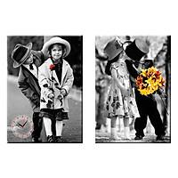Tranh đồng hồ treo tường NÉT ĐẸP TUỔI THƠ - Q22-OM-423-DH (30 x 50 cm) Thế Giới Tranh Đẹp