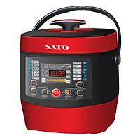 Nồi áp suất điện tử SATO ST-607PC 6.0L (Màu đỏ đen) - Hàng chính hãng