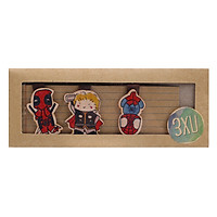 Set 3 Bookmark Gỗ Nam Châm Thor, Deadpool, Spider Man