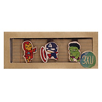 Set 3 Bookmark Gỗ Nam Châm Captain, Iron Man, Hulk