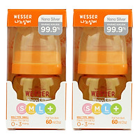Bộ 2 Bình Sữa Wesser Nano Silver Cổ Hẹp (60ml)...