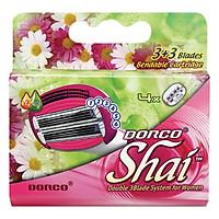 Vỉ 04 Đầu Dao Cạo Cho Nữ 3 Lưỡi Kép Dorco Shai 3+3 LSXA 1040