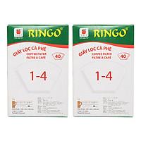 Bộ 2 Giấy Lọc Cà Phê Ringo 1 x 4 (Hộp 40 Tờ) - Trắng