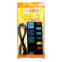 Ổ Cắm Điện 4D + 6S Dây 5m x 2 Lioa 4D6S52 - Đen