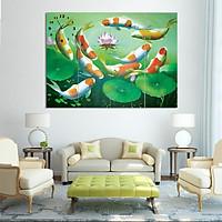 Tranh Đồng Hồ Cửu Ngư Quần Tụ Binbin TDH30 (60 x 20 cm)
