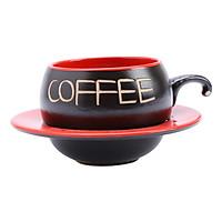 Bộ Quà Tặng Tách Coffee Đĩa Lõm P05D - Đỏ