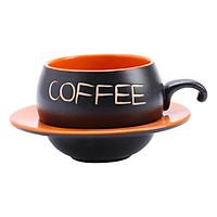 Bộ Quà Tặng Tách Coffee Đĩa Lõm P05C - Cam