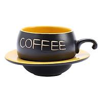 Bộ Quà Tặng Tách Coffee Đĩa Lõm P05V - Vàng