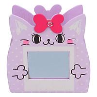 Hộp Cắm Bút Gỗ Hình Mèo (Có Gương) - Tím