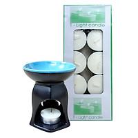 Combo Đèn Xông Tinh Dầu Nến Hình Lục Giác Milaganics + Nến Tealight (Hộp 10 Viên)