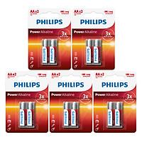 Combo 5 Vỉ - Pin Kiềm (Alkaline) Philips AA LR6P2B (10 Viên AA) - Đỏ