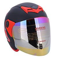 Mũ Bảo Hiểm Napoli Tem Bọ Cạp Màu Đỏ N039-RED-KBM (Kính Bảy Màu) - Size L