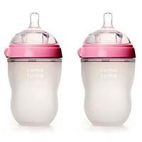 Bộ Hai Bình Sữa Silicone Comotomo CT00004 - Hồng (250ml)