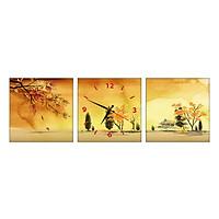 Tranh Đồng Hồ Treo Tường 3 Tấm Thế Giới Tranh Đẹp SS0064-DH
