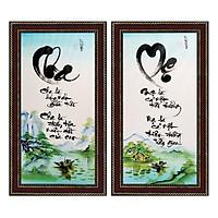 Tranh thư pháp bộ đôi Cha Mẹ (38 x 68 cm) Thế Giới Tranh Đẹp