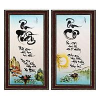 Tranh thư pháp bộ đôi Nhớ Ơn Thầy Cô (38 x 68 cm) Thế Giới Tranh Đẹp