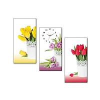 Tranh Đồng Hồ Dyvina 3T3060-9 - Hoa Tulip